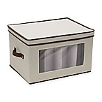 Household Essentials® Goblet Stemware Storage Box in Cream/Brown