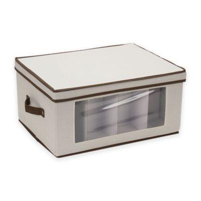 Household Essentials® Balloon Wine Glass Stemware Storage Box In Cream/Brown
