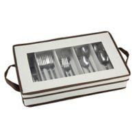 Household Essentials® Flatware Storage Box in Cream/Brown