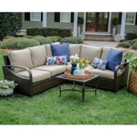 Leisure Made Trenton 4-Piece Sectional Set with Tan Cushions