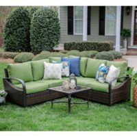 Leisure Made Trenton 4-Piece Sectional Set with Green Cushions