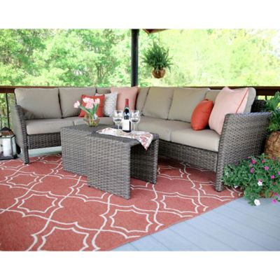 Leisure Made Canton 6 Piece Sectional Patio Furniture Set In Tan