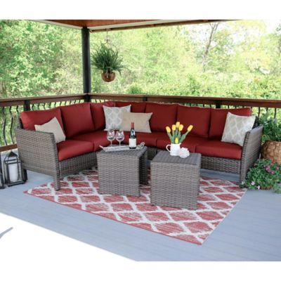 Leisure Made Canton 6 Piece Sectional Patio Furniture Set In Red