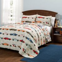 Lush Décor Race Cars 2-Piece Twin Quilt Set in Blue