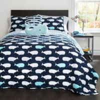 Lush Décor Whale 4-Piece Reversible Twin Quilt Set in Navy