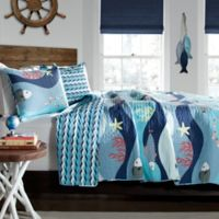 Lush Décor Sea Life 2-Piece Reversible Twin Quilt Set in Blue