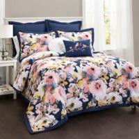Lush Décor Watercolor Floral 7-Piece Full/Queen Comforter Set in Blue