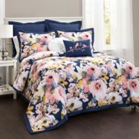 Lush Décor Watercolor Floral 7-Piece Full/Queen Comforter Set in Blue