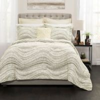 Lush Décor Pixel Wave Line 6-Piece Full/Queen Comforter Set in Taupe
