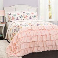Lush Décor Flutter Butterfly 2-Piece Twin Quilt Set in Pink