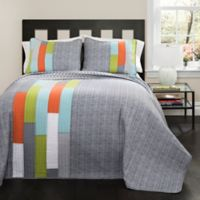 Lush Décor Shelly Stripe 3-Piece Reversible Full/Queen Quilt in Orange