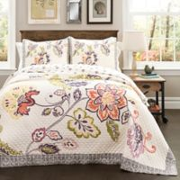 Lush Décor Aster 3-Piece Reversible Full/Queen Quilt Set in Coral