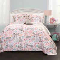 Lush Décor Pixie Fox 4-Piece Reversible Full/Queen Quilt Set in Grey