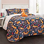 Lush Décor Pixie Fox 4-Piece Reversible Full/Queen Quilt Set in Navy
