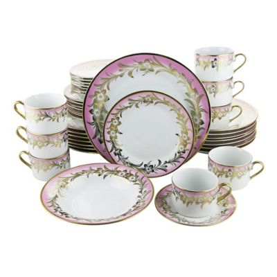 Three Star Flower 40-Piece Dinnerware Set in Pink/Gold  sc 1 st  Bed Bath u0026 Beyond & Buy Pink Dinnerware Sets from Bed Bath u0026 Beyond