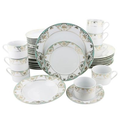 Three Star Floral 40-Piece Dinnerware Set in Teal/Gold  sc 1 st  Bed Bath \u0026 Beyond & Buy Gold Dinnerware Sets from Bed Bath \u0026 Beyond