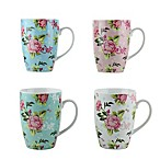 Three Star Floral Mugs in Multi (Set of 4)