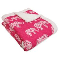 Lush Décor Elephant Parade Sherpa Throw Blanket in Pink