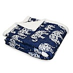Lush Décor Elephant Parade Sherpa Throw Blanket in Navy