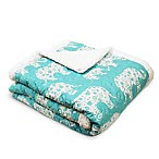 Lush Décor Elephant Parade Sherpa Throw Blanket in Aqua
