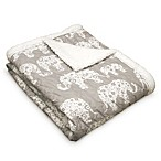 Lush Décor Elephant Parade Sherpa Throw Blanket in Grey