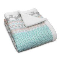 Lush Décor Elephant Parade Sherpa Throw Blanket in Turquoise