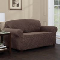 Stretch Sensations Stretch Floral Loveseat Slipcover in Chocolate