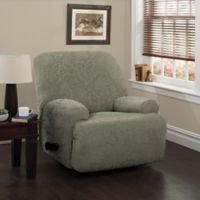 Stretch Sensations Stretch Floral Jumbo Recliner Slipcover in Sage