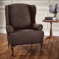 Stretch Sensations Stretch Floral Wing Chair Slipcover in Chocolate