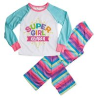 """Super Girl"" Medium 2-Piece Pajama Set in Blue"