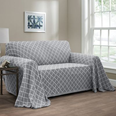 Ogee Reversible Loveseat Throw Cover In Grey