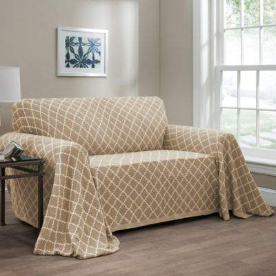 Ogee Reversible Loveseat Throw Cover In Natural
