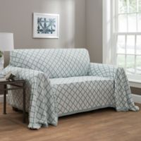 Ogee Reversible Loveseat Throw Cover In Spa