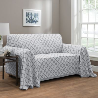 Ogee Reversible Sofa Throw Cover In Grey