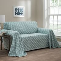 Ogee Reversible Sofa Throw Cover in Spa