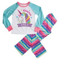 """Dreamer"" Medium 2-Piece Unicorn Pajama Set in Blue"