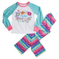 Pretty Flowers Medium 2-Piece Pajama Set in Blue