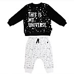 Mini Heroes Size 3M 2-Piece Universe Shirt and Pant Set in Black/White