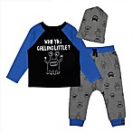 Mini Heroes Newborn 3-Piece Little Monsters Shirt, Pant, and Hat Set in Blue/Grey