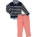 Beetle & Thread Size 3-6M 3-Piece Striped Sweater, Shirt, and Pant Set in Navy