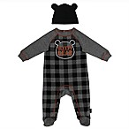 Mini Heroes Size 3M 2-Piece  Sleepy Bear  Plaid Footie and Hat Set in Black
