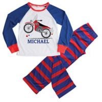 Small 2-Piece Motorcycle Pajama Set in Blue