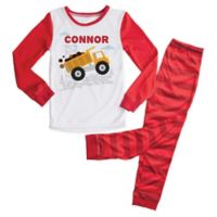 Size 2T 2-Piece Dump Truck Pajama Set in Red