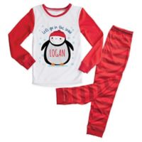 Personalized Planet Size 2T 2-Piece Penguin Pajama Set in Red