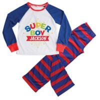 """Personalized Planet Large 2-Piece """"Super Boy"""" Pajama Set in Blue"""