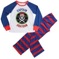 Personalized Planet Large 2-Piece Pirate Pajama Set in Blue