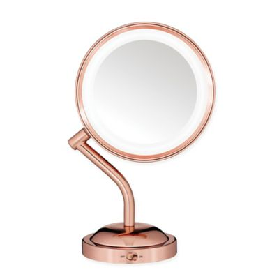Buy conair mirrors from bed bath beyond conair rose 1x5x lighted vanity mirror in gold mozeypictures Gallery