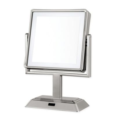 square vanity mirror with lights. Conair  Square LED 1x 5x Lighted Vanity Mirror in Satin Nickel Buy with Lights from Bed Bath Beyond