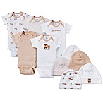 Gerber® Bear 10-Piece Bodysuit and Cap Set in Brown