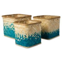 Surya Naturita Vaych Decorative Basket Set in Blue/White